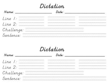 Dictation Worksheet