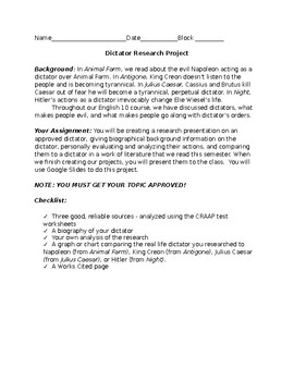 Dictator Research Project