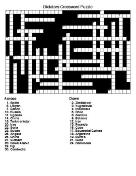 Dictators Word Search and Crossword Puzzles with Keys