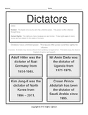 Dictators and Human Rights Violations Matching Worksheet