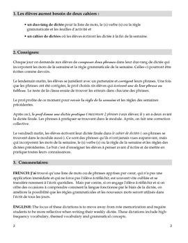 Dictées (1er terme) pour l'immersion précoce (6e - 8e années)