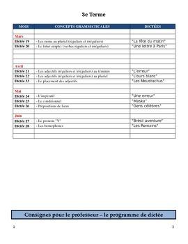 Dictées (3e Terme) pour l'immersion précoce (6e - 8e années)