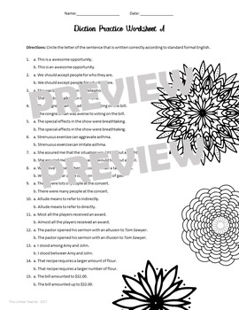 Diction Worksheets and Power Point for Four Lessons