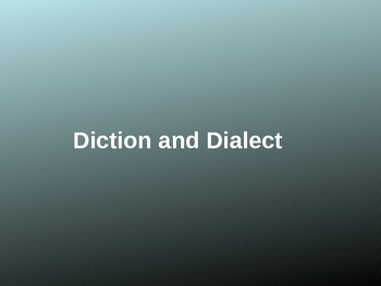 Diction and Dialect Powerpoint