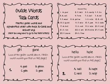Dictionary ABC order GUIDE WORDS TASK CARDS pink