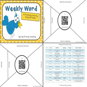 Dictionary Activity Using QR Codes