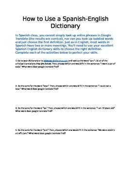 Dictionary Activity/Quiz