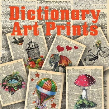 Dictionary Art Prints - 20 Different Designs - Printable Wall Art