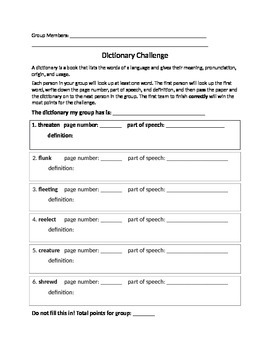 Dictionary Challenge