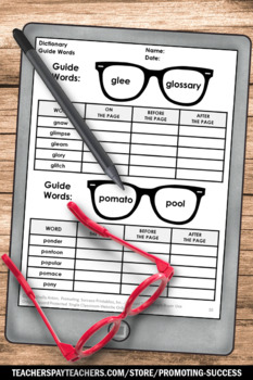 Dictionary Skills Worksheets, Dictionary Guide Words & Summarizing Practice