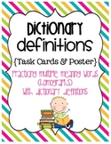 Dictionary Definitions – Homograph Task Cards and Poster