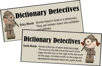 Dictionary Detective Center & Worksheets - 2nd & 3rd Grade
