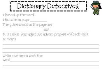 Dictionary Detectives FREEBIE!