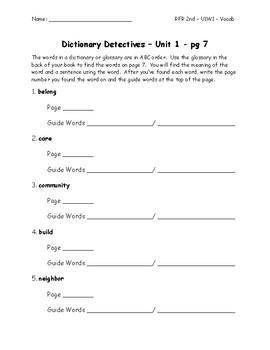 Dictionary Detectives - Reach for Reaching - 2nd Grade - U1W1