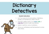 Dictionary Detectives definition match for vocabulary