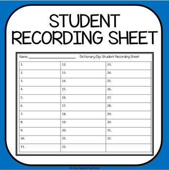 Dictionary Skills- 32 Task Cards