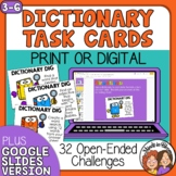 Dictionary Dig Task Cards: 30 Challenges to Practice Dictionary Skills