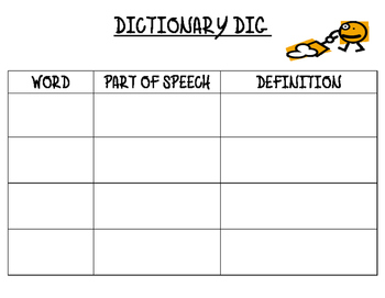 Dictionary Dig Word Work