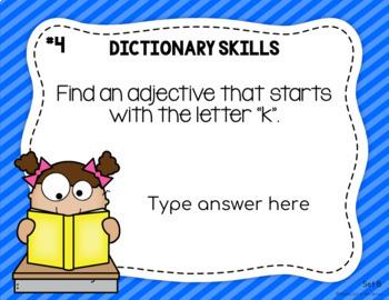 Dictionary Digital Task Cards for Google Slides (Set B)