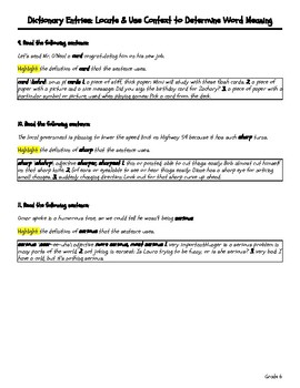 Dictionary Entries - Locate & Use Context to Determine Word Meaning - Grade 6