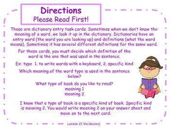 Dictionary Entry Task Cards for Journeys Grade 2