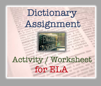 Dictionary Activity / Exercise : Reference Materials worksheet; ELA Fun