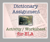 Dictionary Activity / Exercise : Reference Materials works