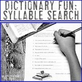 Dictionary Skills Worksheets with a Syllable Search - Use for Literacy Centers!