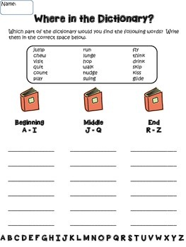 Dictionary Guide Words & ABC Order