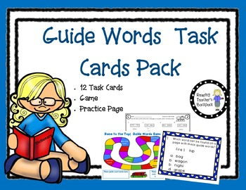 Guide Words Task Cards and Game Bundle