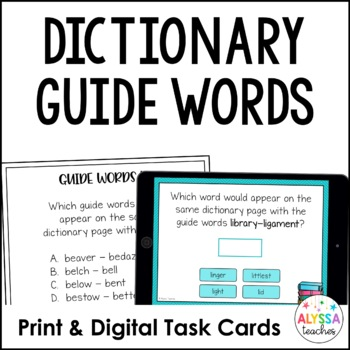 Dictionary Guide Words Digital Task Cards - Boom Cards