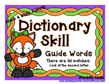 Dictionary - Guide Words - Fox - Black & White