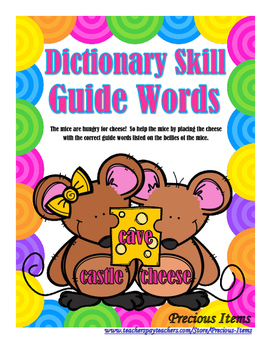 Dictionary Guide Words - Mice and Cheese
