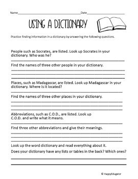 Dictionary Skills Worksheets with Practice Using Guide Words