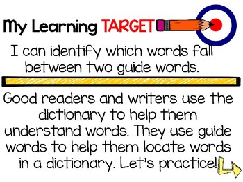 Dictionary Guide Words and Multiple Meanings: Teaching Slides and Practice Pages