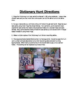 Dictionary Hunt Literacy Center
