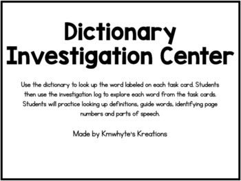 Dictionary Investigation Center - 36 Task Cards (Printer-friendly)