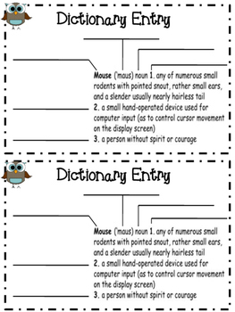 Dictionary Mini-book
