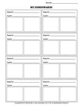 Dual-Language Picto- Dictionary Page
