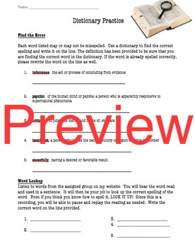 Dictionary Practice Worksheet
