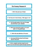 Dictionary Research Cards