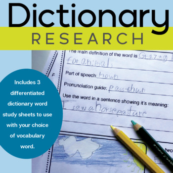 Dictionary Research Worksheets