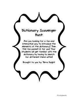 Dictionary Scavenger Hunt Fun
