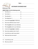 Dictionary Scavenger Hunt, Dictionary Activity, comfortabl
