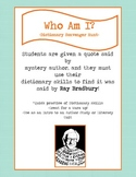 Dictionary Scavenger Hunt Riddle for Ray Bradbury