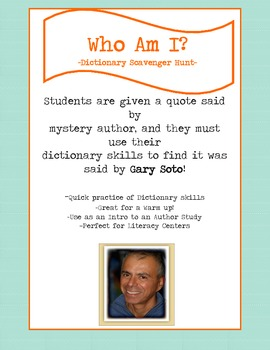 Dictionary Scavenger Hunt Riddle for Gary Soto