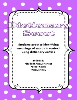 Dictionary Scoot - choosing the right definition for multiple-meaning words