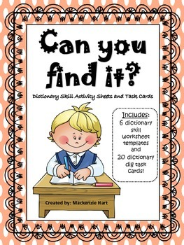Dictionary Skill Activity Sheets and Task Cards