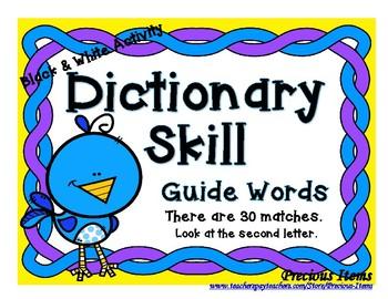 Dictionary Skill - Guide Words - Bird - Black & White