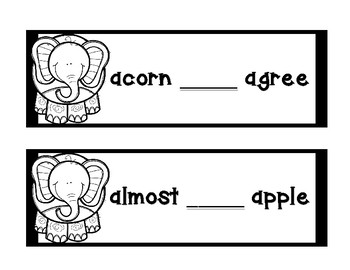 Dictionary Skill - Guide Words - Elephant - Black & White